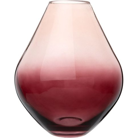 Diamond Ombre Red Tinted Glass Vase H22