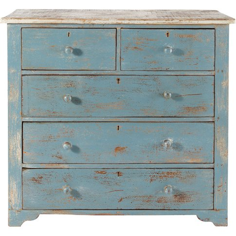 Distressed Mango Wood Chest Of Drawers In Blue W 94c...