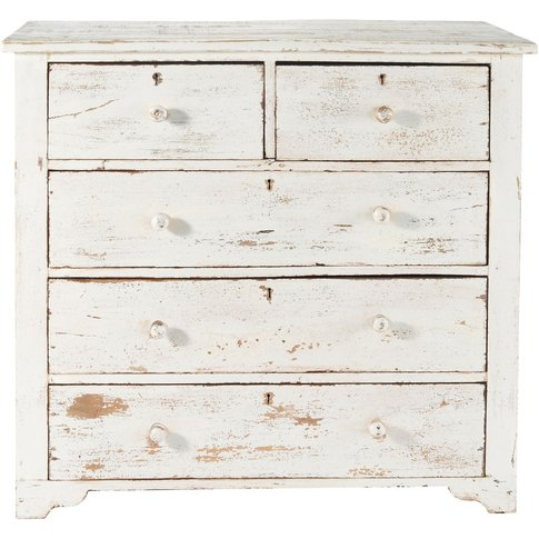 Distressed Mango Wood Chest Of Drawers In White W 94...