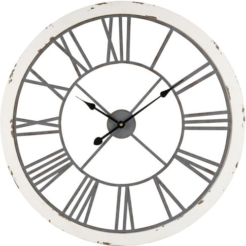 Distressed White And Grey Metal Clock D67