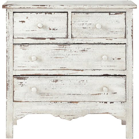 Distressed Wood Chest Of Drawers In White W 77cm Cas...