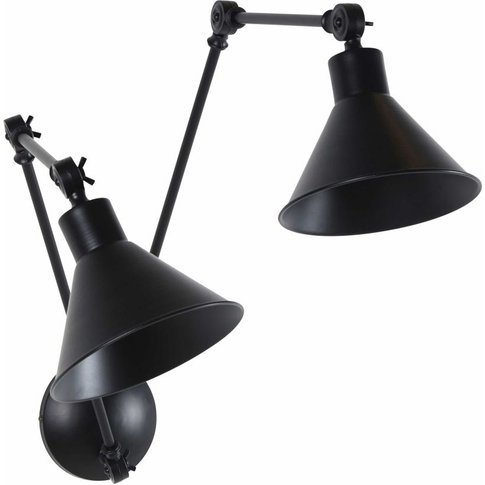 Double Articulated Wall Lamp With Black Metal Shades
