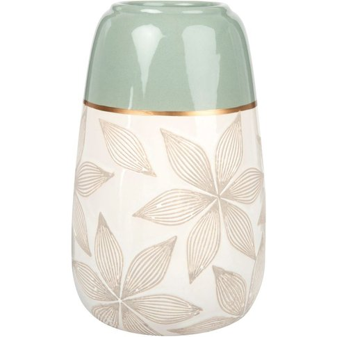 Ecru And Almond Green Ceramic Vase With Engraved Flo...
