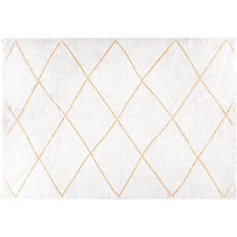 Ecru and Gold Berber Cotton Rug 160x230