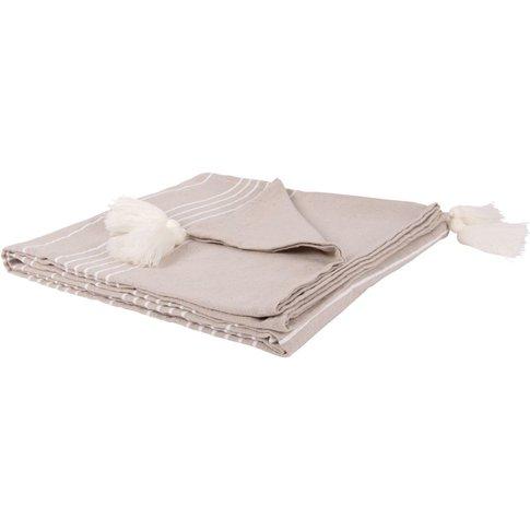 Ecru And Grey Cotton Blanket With Pom Poms 150x250