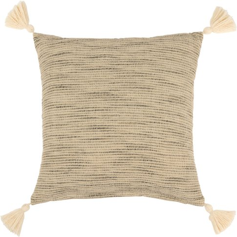 Ecru And Grey Cotton Cushion Cover With Tassels 40x40