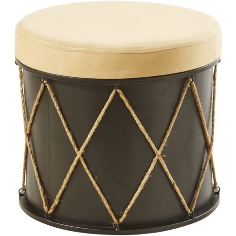 Ecru Cotton and Black Metal Stool with Graphic Print
