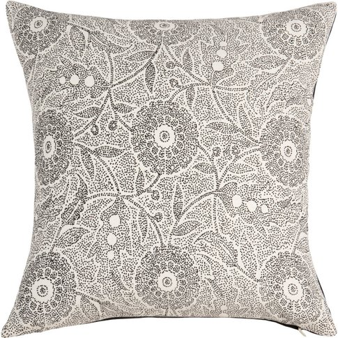 Ecru Cotton Cushion Cover With Black Floral Print 40x40