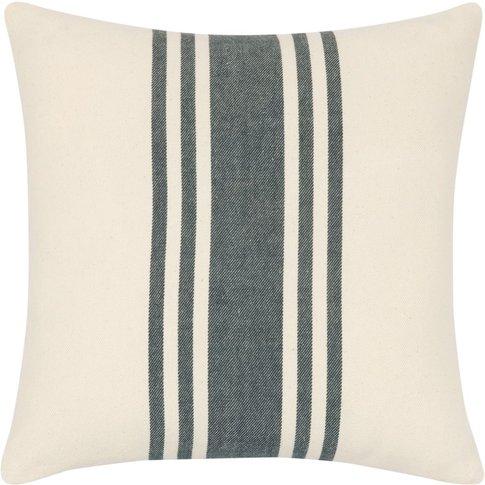 Ecru Cotton Cushion Cover With Grey Pattern 40x40