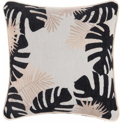 Ecru Cushion Cover With Leaf Print 40x40