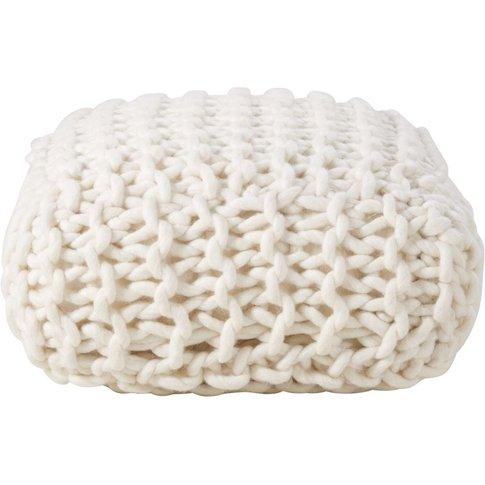 Ecru Knit Wool Pouffe 30x60