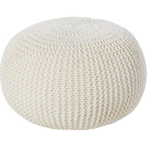 Ecru Knit Wool Pouffe 35x50