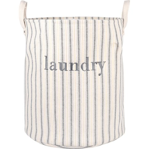 Ecru Laundry Basket With Blue And Golden Stripes