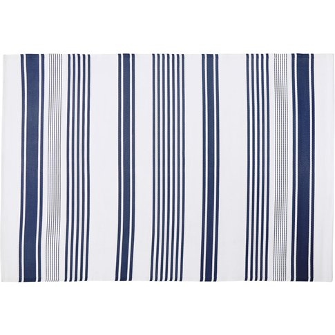 Ecru Outdoor Rug With Blue Stripe Print 180x270