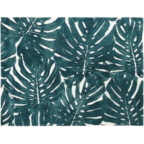 Ecru Tufted Rug With Green Foliage Print 160x230