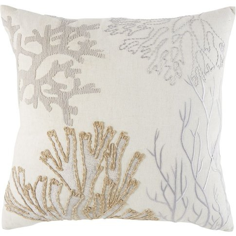 Ecru Wool And Cotton Cushion With Embroidered Design...