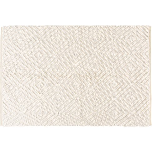 Ecru Wool And Cotton Rug With Graphic Motifs 140x200