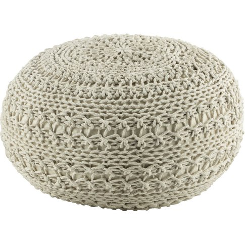 Einar Cotton Knit Pouffe In Off-White