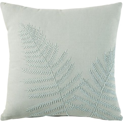 Embroidered Green Cotton Cushion with Fern Print 45x45