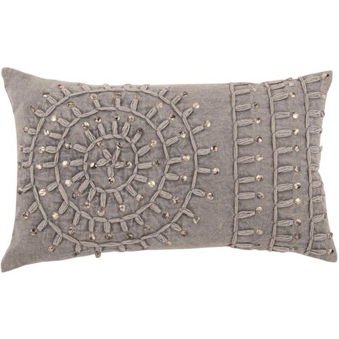Embroidered Grey Cotton Cushion Cover 30x50