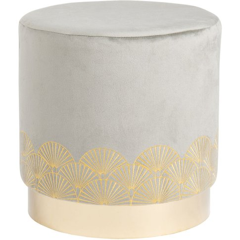 Embroidered Grey Velvet Pouffe