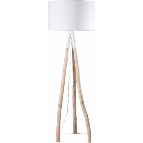 Eucalyptus Branch Floor Lamp with White Shade H 152 cm
