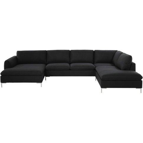 Fabric 7-Seater Corner Sofa, Charcoal Grey City