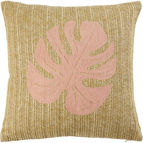 Faux Jute Cushion With Pink Leaf Print 40x40
