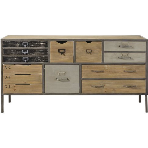 Fir And Metal 13-Drawer Industrial Storage Cabinet J...