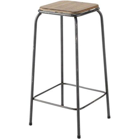 Fir and metal industrial bar stool Kraft