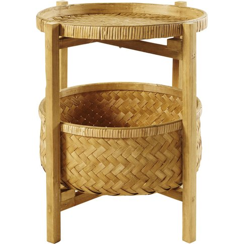 Fir And Woven Bamboo Side Table