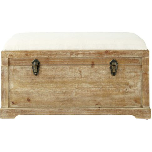 Fir Wood and Cotton Bench with Storage Chest