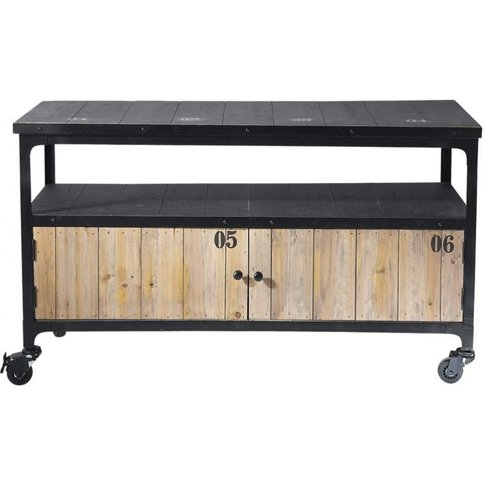 Fir Wood And Metal Industrial Tv Unit On Castors In ...