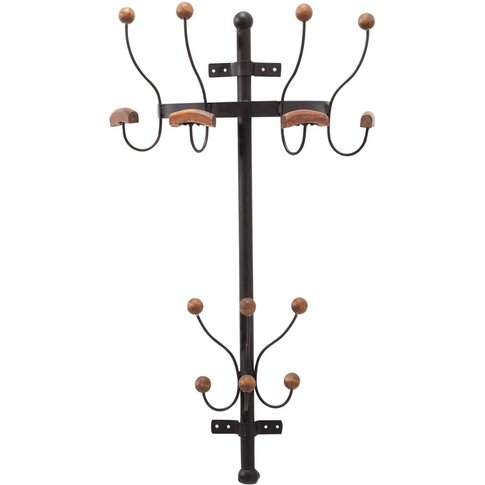 Fir Wood And Rusted-Look Metal Wall-Mounted Coat Stand