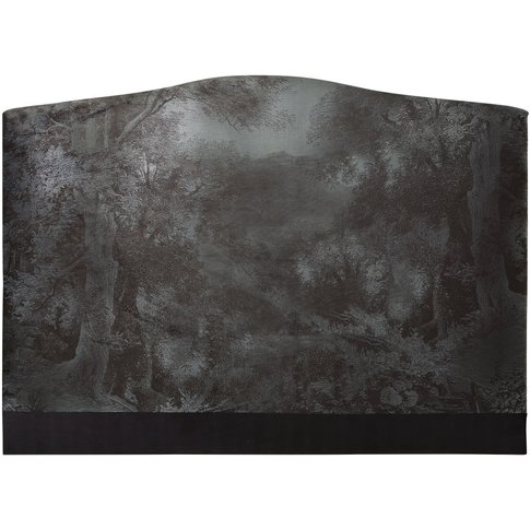 Forest Print Velvet Headboard W160 Esther