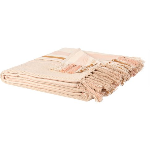 Fringed Cotton Blanket With Stripe Print 160x210