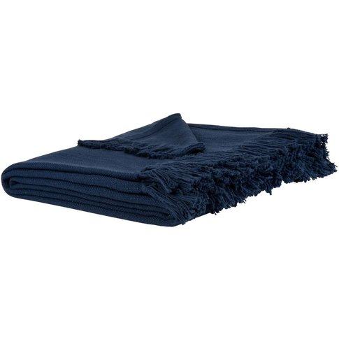 Fringed Dark Blue Cotton Blanket 160x210