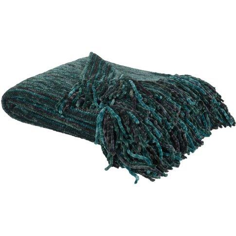 Fringed Green Blanket 127x152