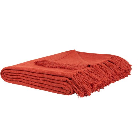 Fringed Red Cotton Throw 160x210