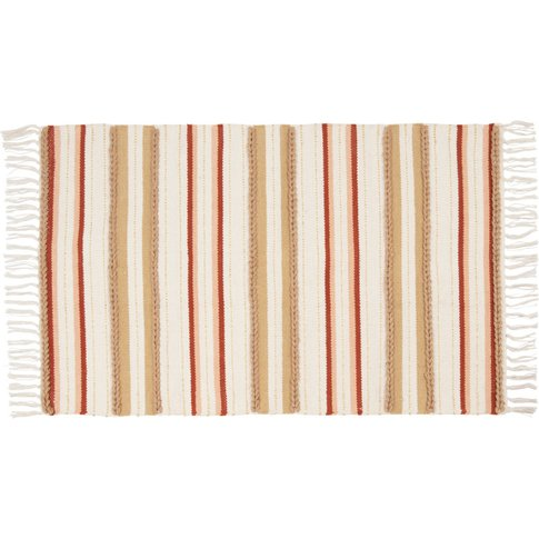 Fringed Three-Tone Woven Cotton Rug With Stripe Prin...