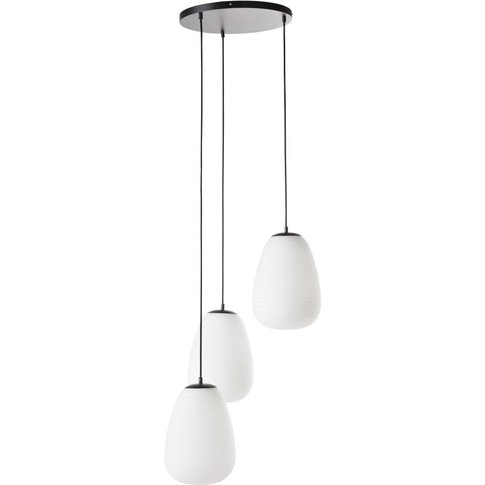 Frosted Glass And Black Metal Triple Pendant Light