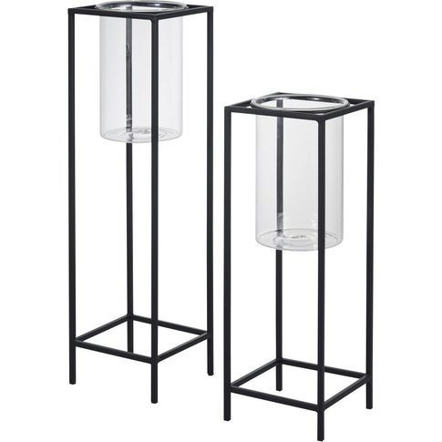 Glass And Black Metal Candle Holders (X2)