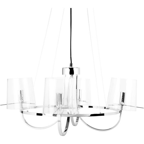 Glass And Chrome Metal Chandelier