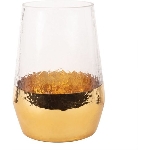 Glass And Hammered Golden Metal Vase H18