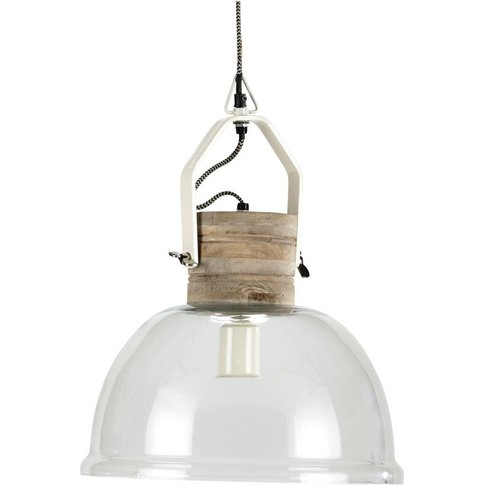 Glass And Mango Wood Pendant Lamp