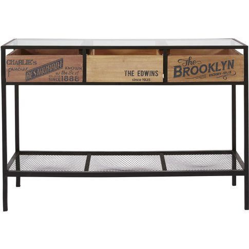Glass and Metal 3-Drawer Console Table Papel