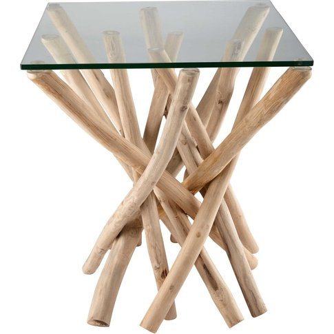 Glass and teak branch side table