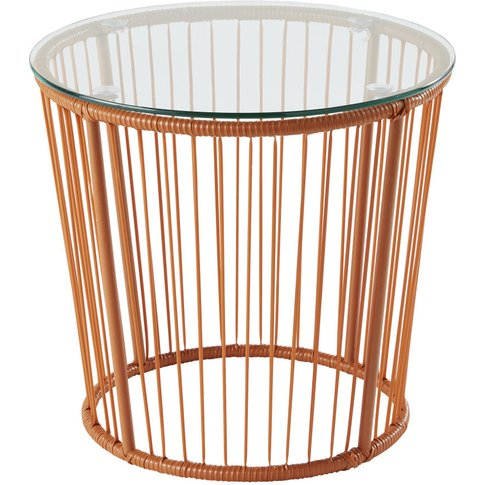 Glass And Terracotta Wire Side Table
