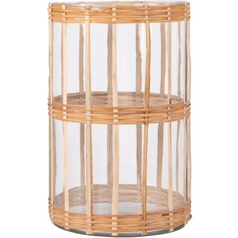 Glass And Woven Rattan Candle Holder