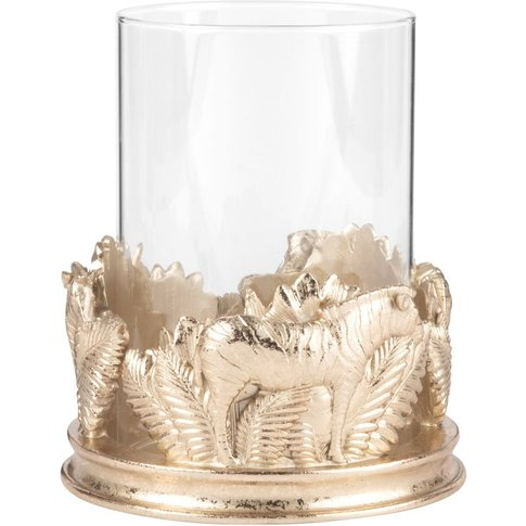 Glass Tealight Holder With Gold Detailing